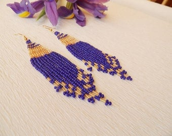Seed Bead Earrings - Long Earrings - Boho Style Earrings, Beaded Earrings, Fringe Earrings, Royal Blue  Earrings, Dangle Earrings