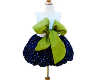 Flower Girl Dress - With Large Handmade Olive Big Bow - EyeLid Top -  Wedding - Girls Dress - Birthday - KK Children Designs