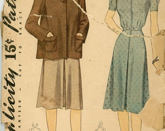 Vintage Simplicity Pattern 3716 - 1941 - Women's Dress and Jacket Ensemble Size 14 Bust 32
