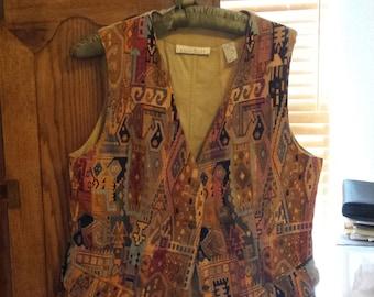 Southwest Karen Scott Tapestry vest size 8 FREE SHIPPING USA