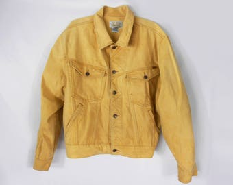 Yellow Denim Jacket/ Jordache/ Vintage Denim Jacket/ Mens Jean Jacket/ 80s Denim Jacket/ 90s Denim Jacket/ Levis Denim Jacket/ Jean Jacket