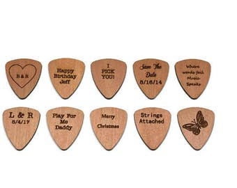 Set of 10 Wood Guitar Picks - 2017 Special! Alder Wood -Flat Laser Cut Guitar Picks - Personalized custom engraving available!