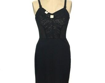 vintage 1950's black lace slip / Kayser / undergarments / sexy boudoir / deadstock lingerie / women's vintage lingerie / tag size 34 C