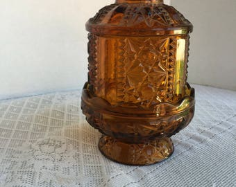 Amber Glass Candle Holder by Indiana Glass /  Vintage Fairy Light Cut Glass Votive Candle holder.