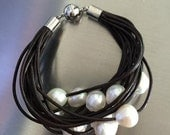 Brown Italian Leather Bracelet with Fresh Water Pearls