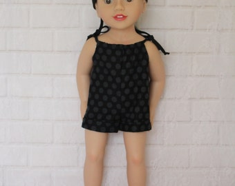Black Gray Grey Shorts Romper Doll Clothes to fit 18 inch dolls to 20 inch dolls such as American Girl & Australian Girl dolls