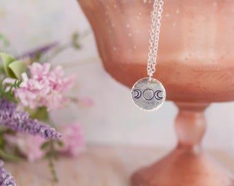 Triple Moon Necklace - Triple Goddess Necklace - Moon Necklace - Witch Necklace - Boho Necklace