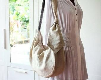 Linen shoulder bag, Slouchy hobo bag