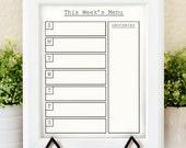 Weekly Meal Planner - Printable Menu - Weekly Menu Planner - Dry Erase Menu Board - Kitchen Planner - Kitchen Printable -Printable Menu Plan