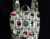 Small backpack- Vintage vegetable seed pack print cotton
