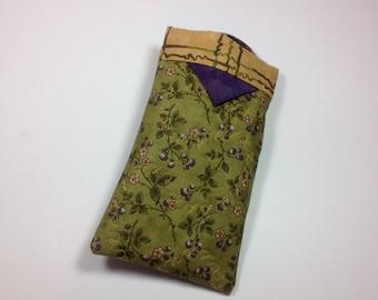 Sunglass Case, Fabric Eyeglasses Holder, Sun glasses Sleeve Smartphone Purse Organizer Forest Green Purple Floral Tampon Case, Crochet Pouch