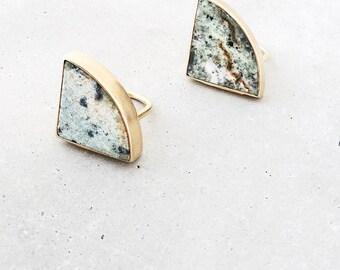 Marble Radius Ring / geometric arc statement ring / natural moss green stone / large gold cocktail ring / minimal metalwork jewelry