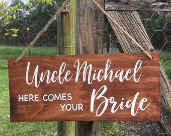 Rustic Wedding Ring Bearer Sign – 175 x 400mm, made to order, wooden, timber, hand painted, elegant, white, custom design, script, walnut
