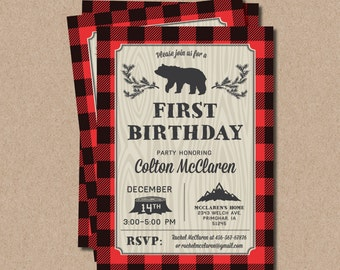 Lumberjack First Birthday Invitations party bear buffalo plaid wood James MB12 Digital or Printed