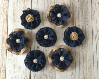 7 navy burlap and lace flowers with rhinestone metal buttons