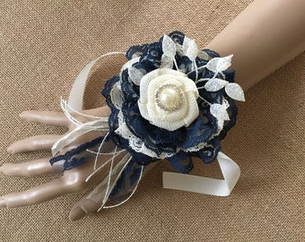 Navy wrist corsage, rustic navy blue and ivory handmade burlap and lace flower wrist corsage, wedding, bridesmaids, prom