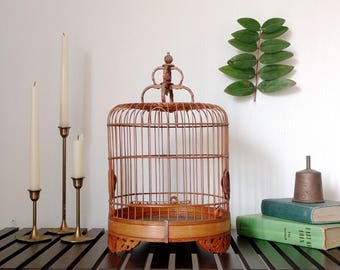 Vintage Chinese Bird Cage Bamboo & Carved Rosewood