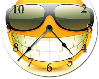 """Cool SMILEY FACE With SUNGLASSES Clock Extra Large 15.5"""" to 16"""" Wall Clock - 2104-16"""