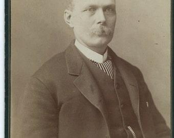 Antique Cabinet Card Photo, Man w Bushy Moustache from Petrolia California