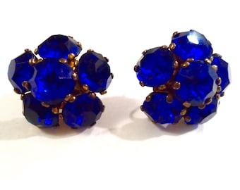 Vintage Cobalt Blue Sterling Silver and Crystal Rhinestone Earrings Screw Back Earrings Vintage Rhinestone Earrings Sterling Silver Earrings