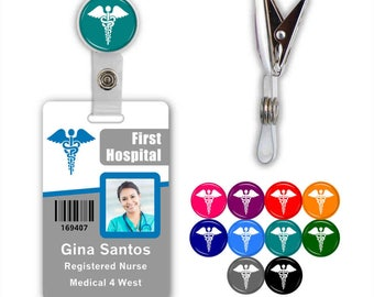 Caduceus Medical Badge ID Name Tag Clip - Available in 10 colors