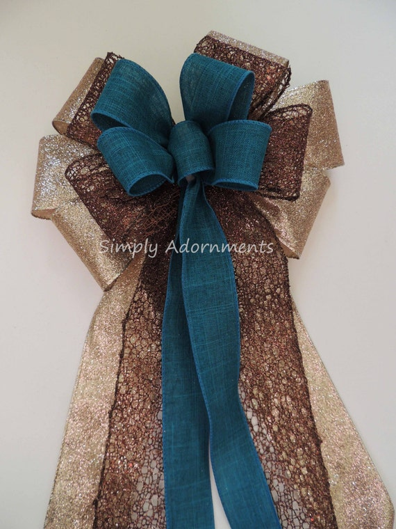 Teal Brown Wedding Pew Bow Teal Brown Gold Ceremony Decor Bow Teal Gold Brown Christmas Tree Bow Teal Brown Swag Bow Teal Brown Gift Bow