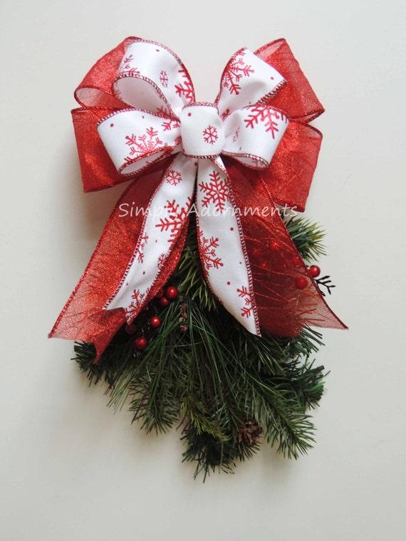 Red White Snowflakes Bow Christmas Gift Bow White Red Snowflakes Ornament Bow Snowflakes Christmas Lantern Bow Christmas Garland Bow