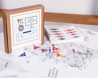World Flags Sticker Set - ALL Countries 198 flags + 198 Head Pins