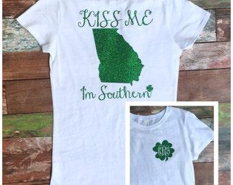 Ladies St Patrick's Day Shirt, Kiss Me I'm Southern, Women's St Patty's Day Shirt, Monogrammed Shirt, Monogrammed St. Patrick's Day Shirt
