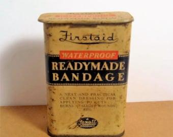 Vintage Firstaid ReadyMade Bandage Tin - 1920's Firstaid ReadyMade Bandage Tin - Rexall Product of United Drug Co. Bandaid Tin