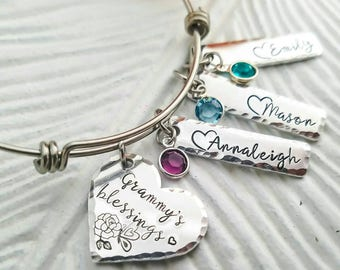 Personalized grandma bracelet, custom name jewelry, name and birthstone bangle, grandmother bracelet, grandma's blessings, gift for mother