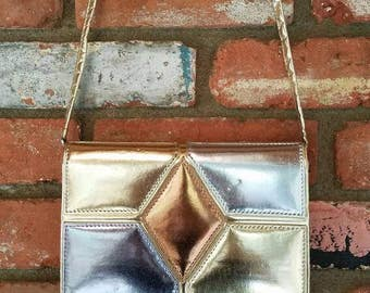 80's Disco Fever Shoulder Bag Purse Vintage Silver Faux Leather Clutch Purse with Shoulder Strap by La Regale