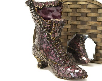 Mosaic Boot, Victorian Glass Slipper, Stained Glass Boot Vase, Purple Gold Glass Boot Vase, Lace Up Glass Boot, Witch Boot, Victorian Art