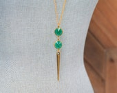 Long Emerald Green Necklace - Long Gold Spike Necklace - May Birthstone Necklace - Green Beaded Lucite Necklace - Long Gold Layering Jewelry