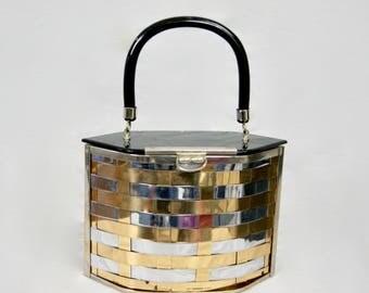 Vintage 1950s Brass & Chrome Metal Hard Case Box Clutch Bag Handbag