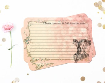 Advice for the Bride Cards, Naughty or Nice, Lingerie Shower Cards, Paris Bridal Shower, Corset, Pink, Bridal Shower Games