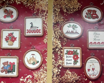 """Counted Cross Stitch booklet """"Country Christmas Miniatures"""" bears, horse ornaments patterns"""