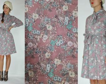 1960s Lavender Pale Purple Spring Floral Dress