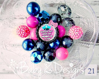 My Mommy is a Cop DIY 20mm Chunky Necklace Kit with Pendant - Navy Blue, Pink, and Black- Can be sized to fit Infant, Toddler, or Girl