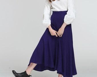 Wool Maxi Skirt In Indigo, Cashmere Skirt, Maxi Skirt, Wool Skirt, Pleated Skirt, Winter Skirt, Formal Skirt, Full Length Skirt, Black Skirt