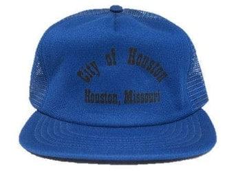 Vintage City of Houston - Houston, Missouri Trucker Hat - snapback snap back style - Black and Blue - Made in USA