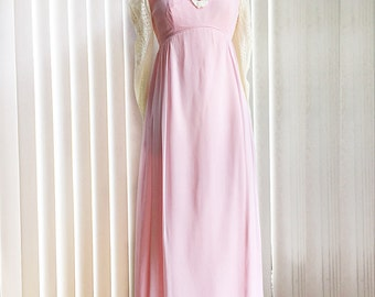 Vintage 70s pink chiffon maxi dress/ Edwardian long prairie dress/ rustic peasant gown/ floral embroidered lace/ Girl from Oklahoma