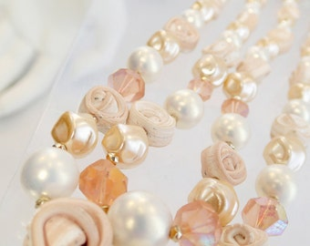 FREE Shipping Vintage Pastel Clay Rose and Austrian Crystal Bead Necklace Pink Peach Cream Off White Japan Japanese Double Strand Stranded