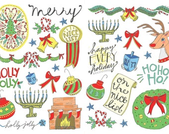 Holiday Temporary Tattoos - Holiday Party Favors - Christmas Party - Hannukah Favor - Stocking Stuffer