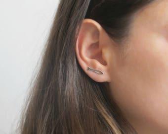 Sterling Silver Ear Crawler Earrings - Ear Climbers Earrings - Ear Climbers - Ear Sweeps - Climber Earrings - Crawler Earrings