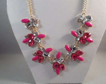 Pink and Clear Crystal Like Beaded Pendant Necklace on a Gold Tone Chain