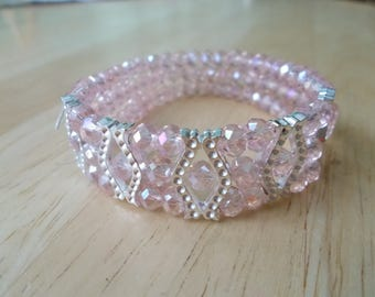 3 Row Pink Crystal Stretch Cuff Bracelet with Silver Tone Spacers