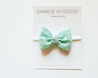 Baby/Girls Mint Lace Bow Headband, Mint Lace Hair Bow Clip, Mint Green Lace Hair Bow by charliecocos