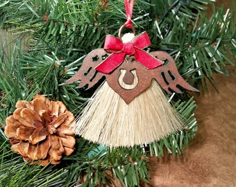 Rustic Primitive Rusty Metal Cutout Angel Wings on Heart with Horseshoe on Horsehair Tassel Christmas Holiday Ornament
