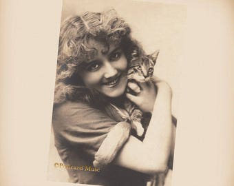 Lady With A Kitten - New 4x6 Vintage Image Photo Print - LE195